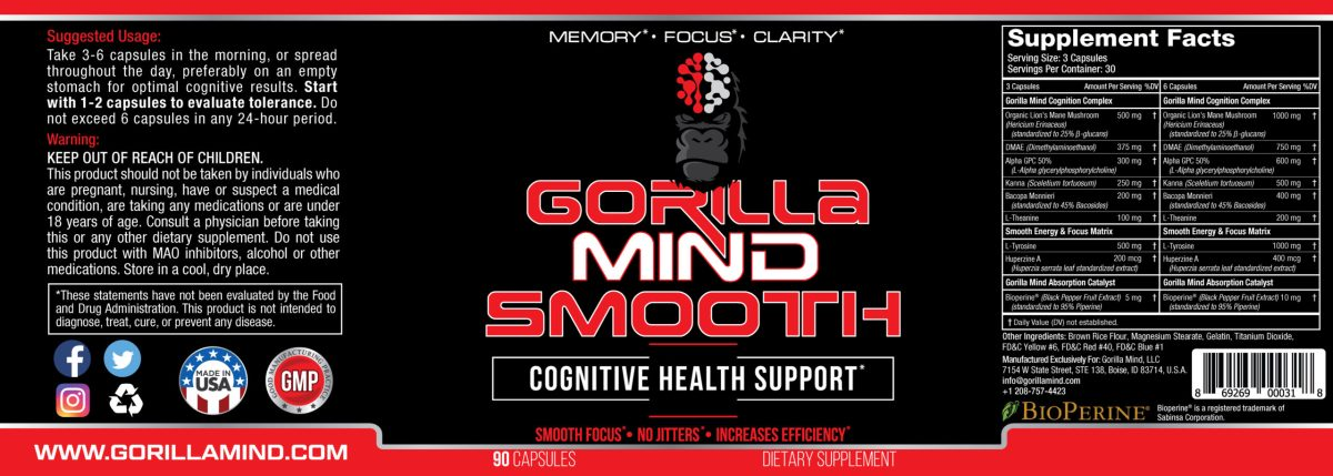Gorilla Mind Smooth Label And Supplement Facts