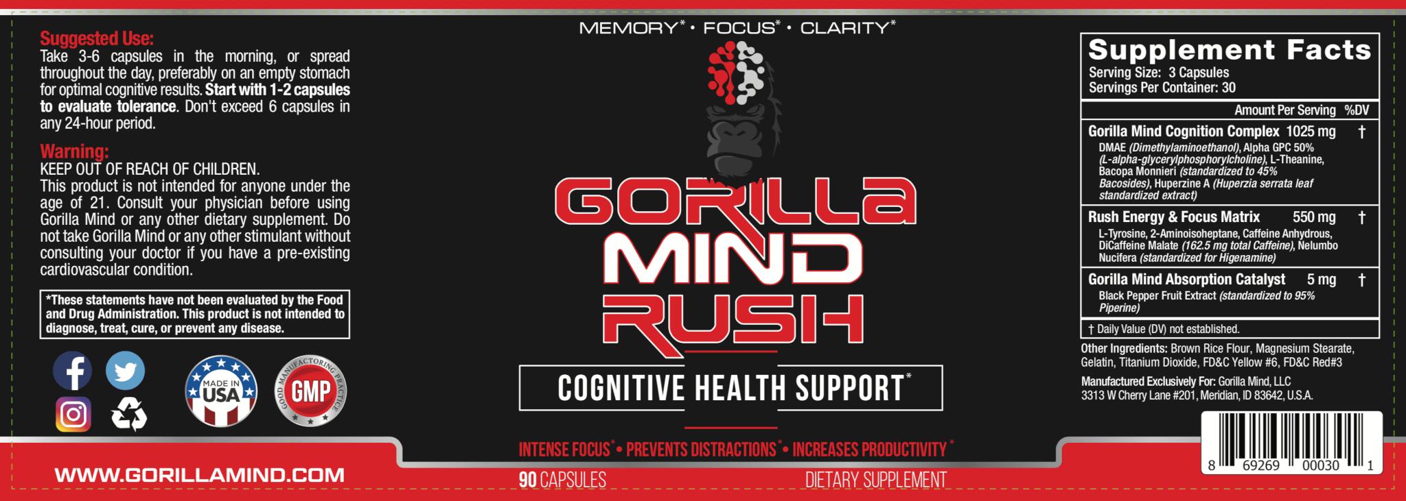 Gorilla Mind Rush Label