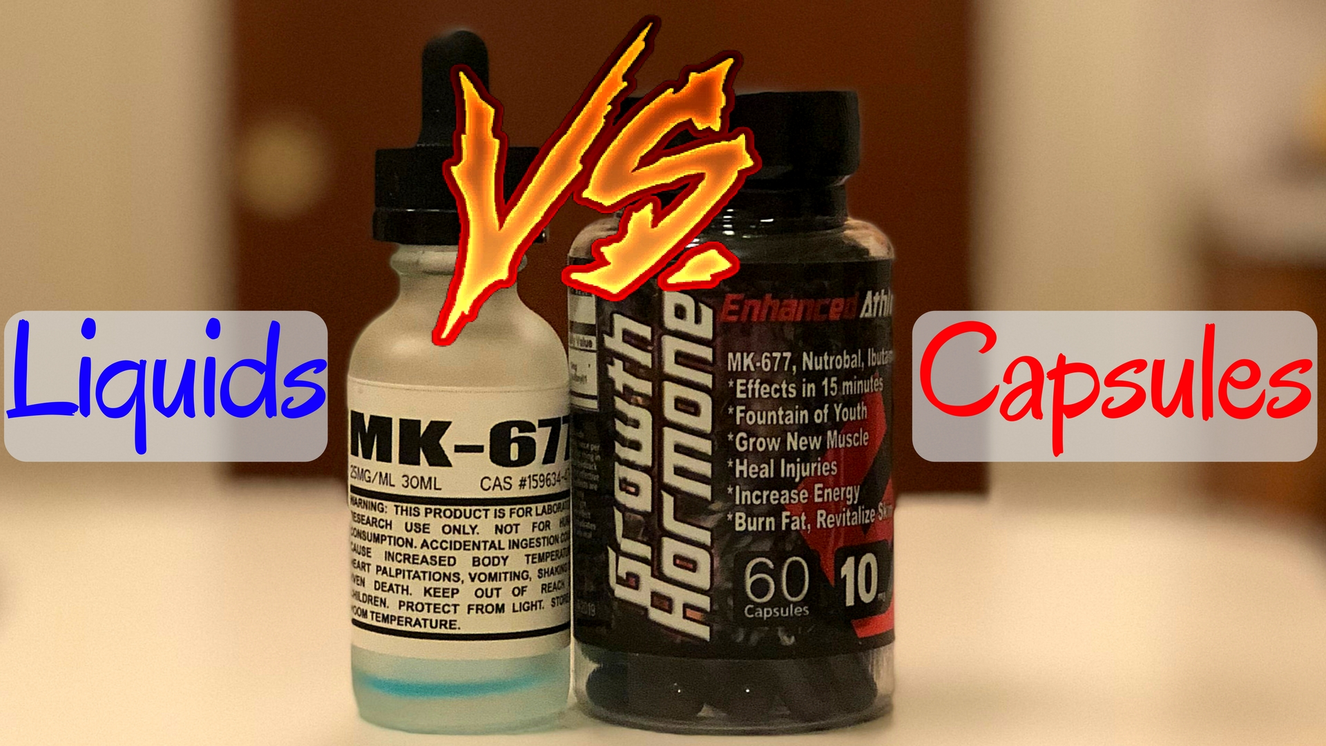 SARMs Liquid Vs Capsules - Bottle of superior peptides liquid MK-677 beside a bottle of Enhanced Athlete MK-677