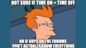Futurama meme of being unsure how much time to take off between cycles after pct