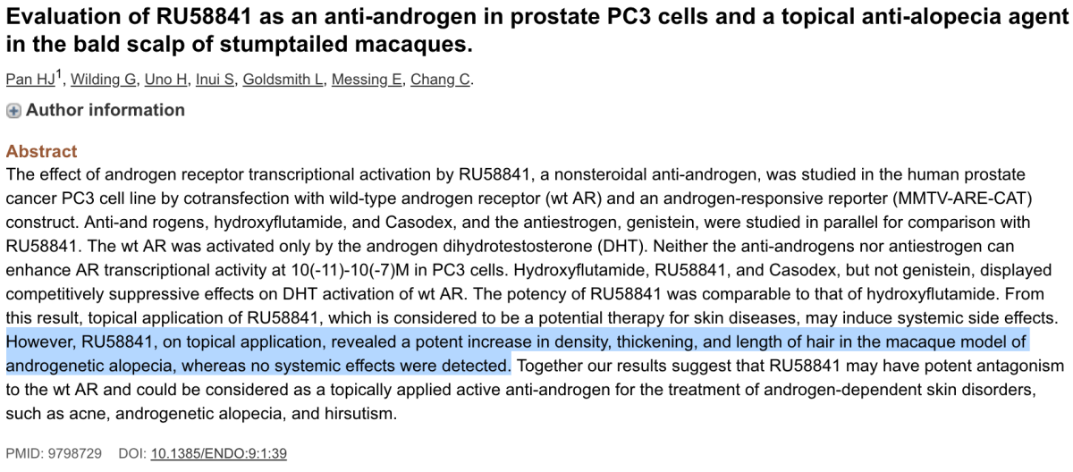 Evaluation of RU58841 As An Anti-Androgen In Prostate PC3 Cells And A Topical Anti-Alopecia Agent In The Bald Scalp Of Stumptailed Macaques.