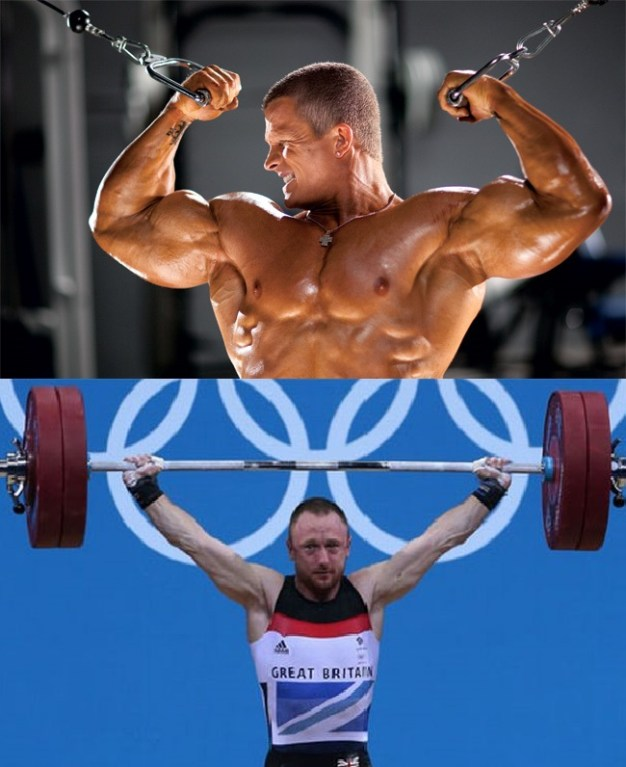bodybuilder lifting weights vs powerlifter lifting weights