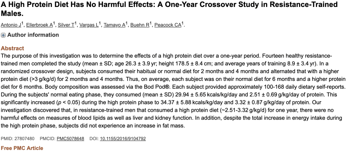 A High Protein Diet Has No Harmful Effects: A One-Year Crossover Study in Resistance-Trained Males.