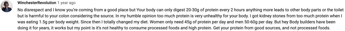 YouTube Video Comment On High Protein Diet