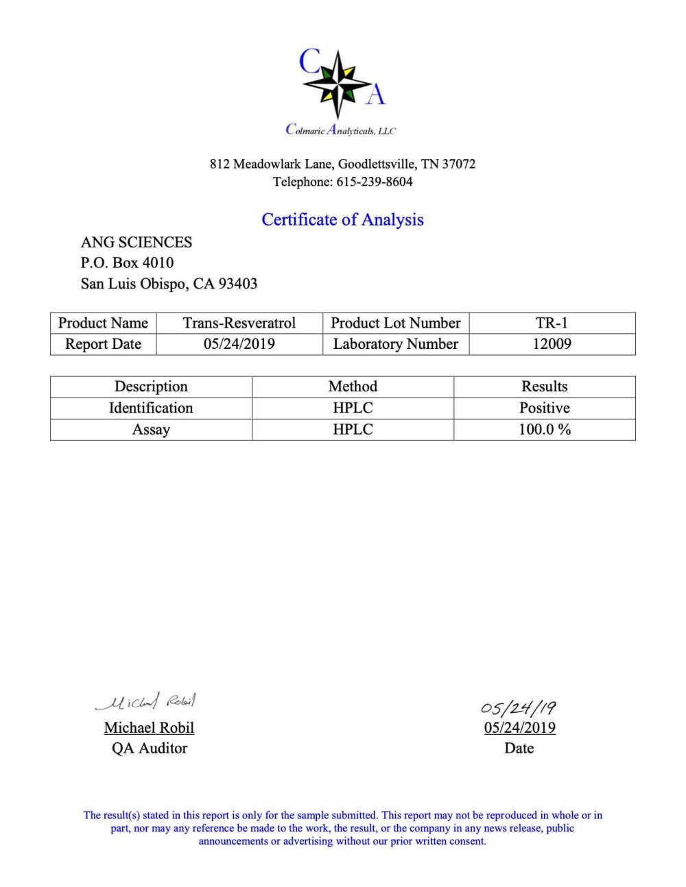Science.bio Trans-Resveratrol Third Party Test Results