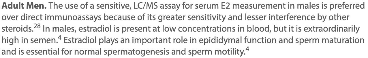 Use of Sensitive Assay Estradiol test for serum e2 snippet