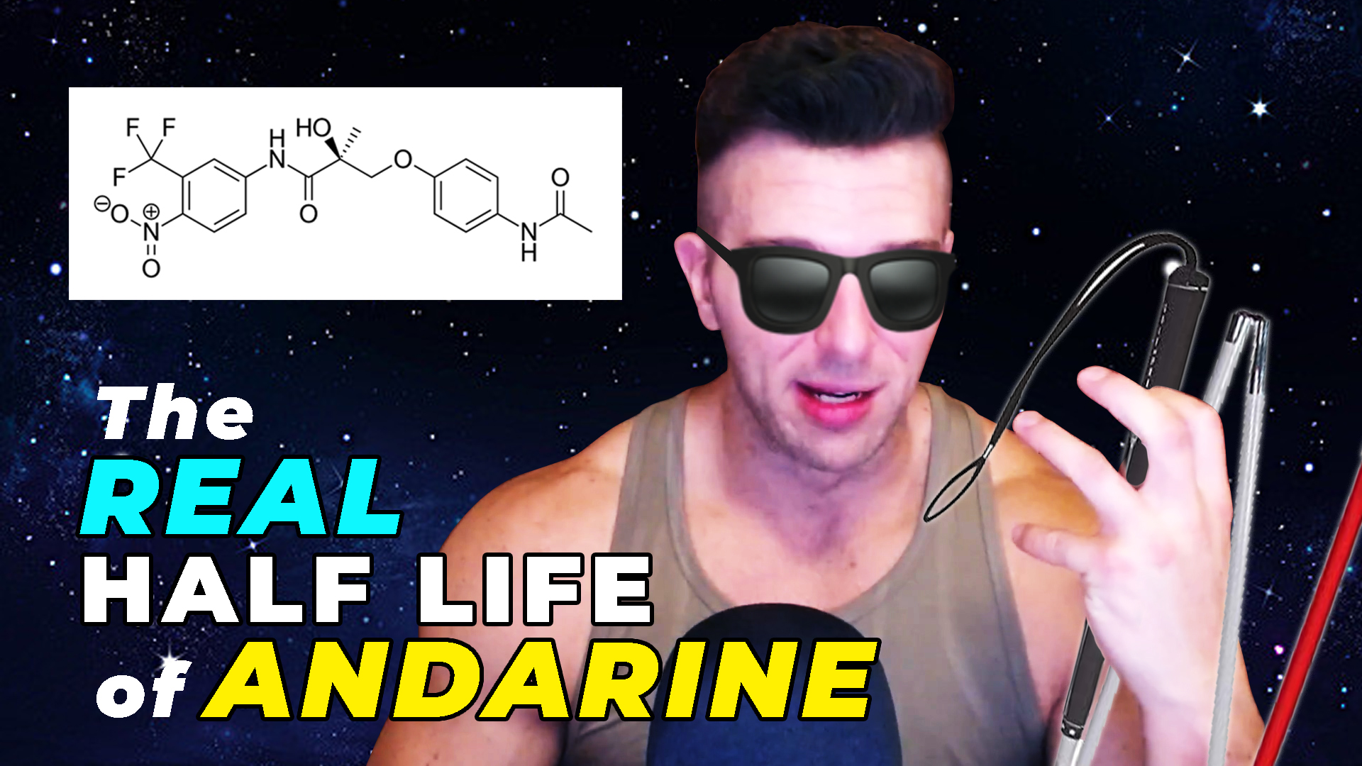 S4 (Andarine) chemical structure beside Derek pretending to be blind because of the long half-life of S4