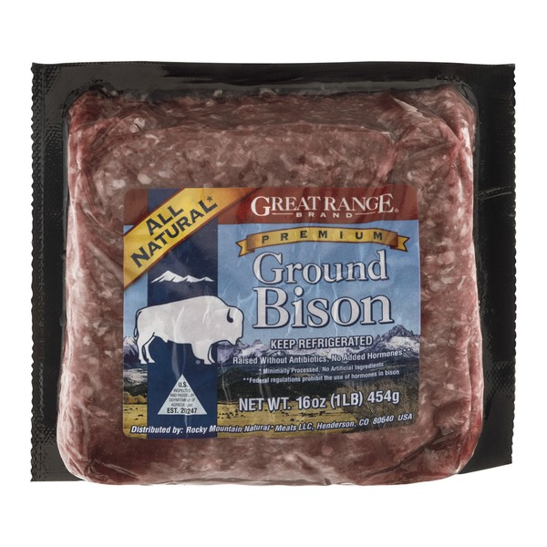 1 pound of great range brand ground bison uncooked