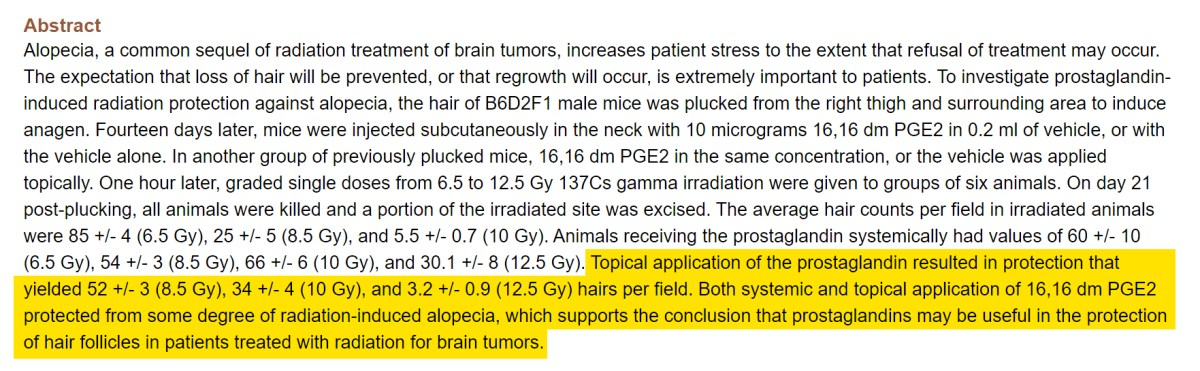 A study suggesting the protective nature of PGE2 against radiation which causes alopecia