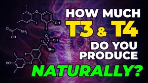"A visual art depicting the question, ""How much T3 and T4 do you produce naturally?"""