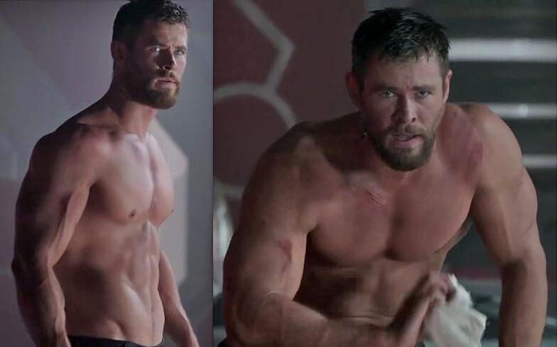 Chris Hemsworth's physique in Thor: Ragnarok