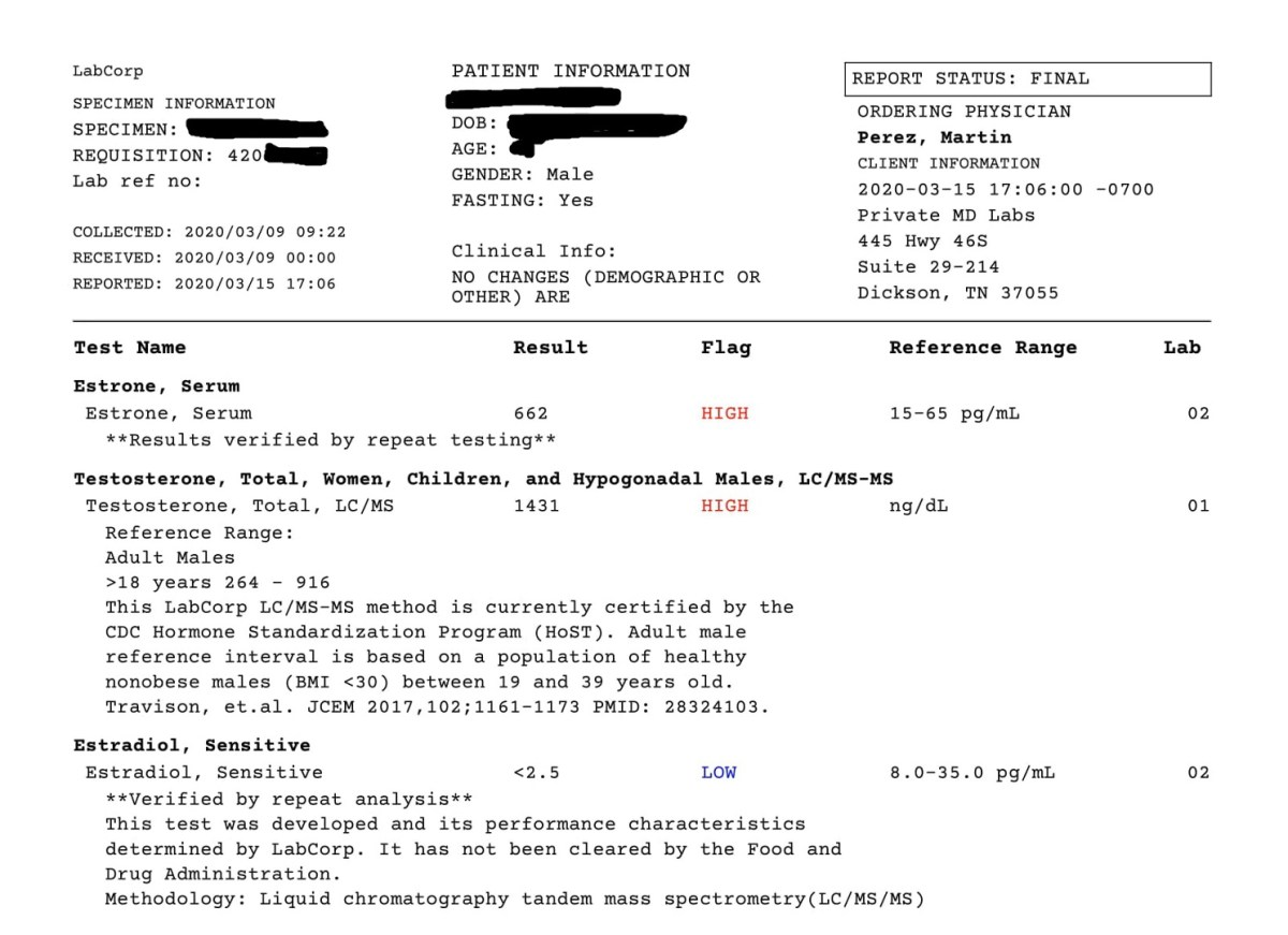 Blood test results on a 250 mg Testosterone and 850 mg Boldenone weekly showing Estradiol undetected in high sensitivity assay and estrone being significantly elevated with ECLIA.