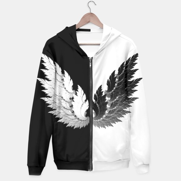 Black White Angel Wings Cotton Zip Hoodie Live Heroes