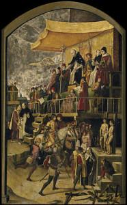 """הצגה של טקס """"אוטו דה פה"""" מ-1475."""