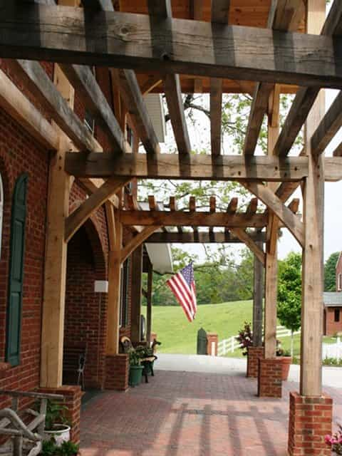 Timber frame porch deck  entrance projects built by MoreSun