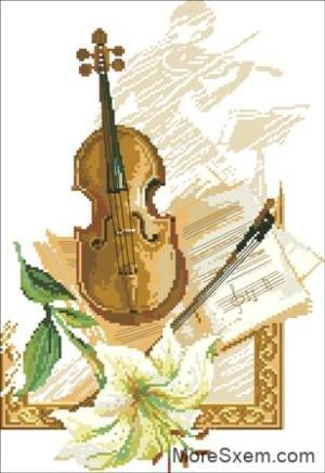 Скрипка с лилией
