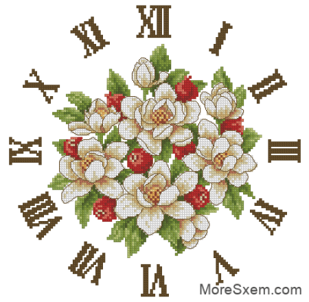 Часы с белыми цветами