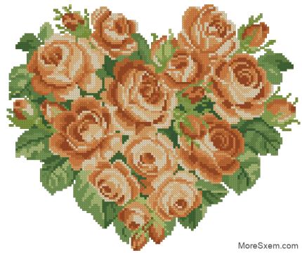 """Сердце """"Оранжевые розы"""""""