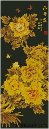 Желтые пионы на черном фоне