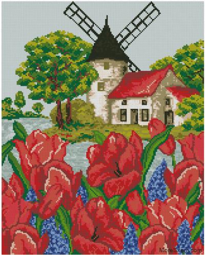 Мельница и тюльпаны