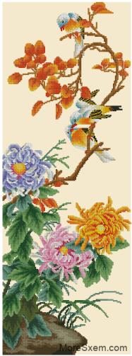 Птицы на цветущей ветке пионов