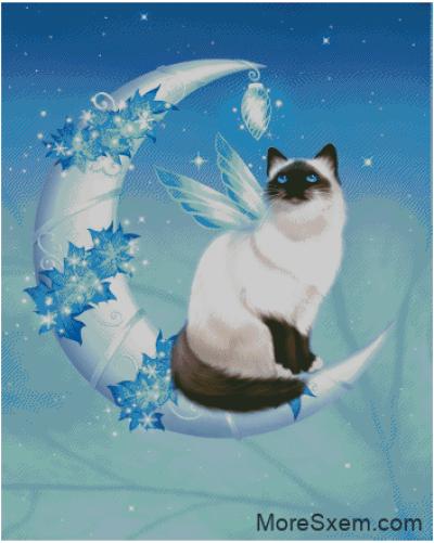Зимняя лунная кошка