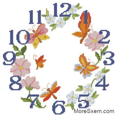 Часы с цветами и бабочками
