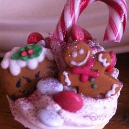 Candy cane and gingerbread men fairycakes