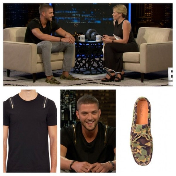 STYLE: Chandler Parsons' Chelsea Lately Show Alexander Mcqueen Zipper T-shirt and Del Toro Suede Camo Driver Shoes