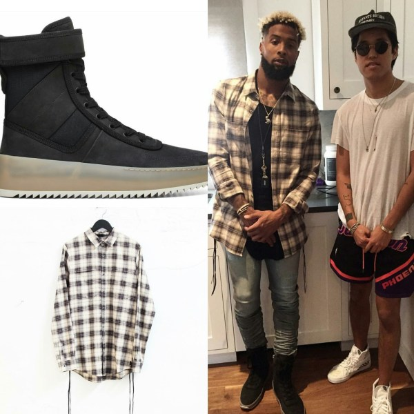STYLE: Odell Beckham's Mike Amiri Flannel & Fear Of God Military Sneaker