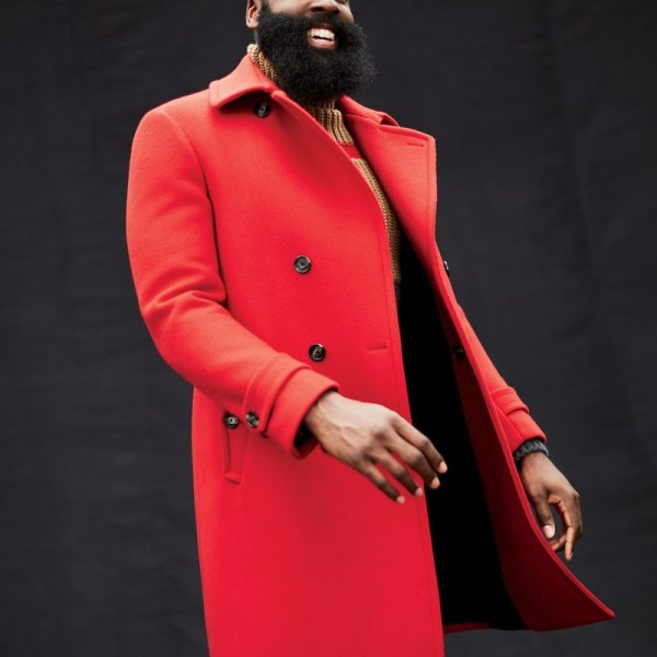 "STYLE: James Harden Models Latest Fashion For Men In GQ Magazine's ""Fall's 15 Most Insanely Beautiful Coats"" Feature"