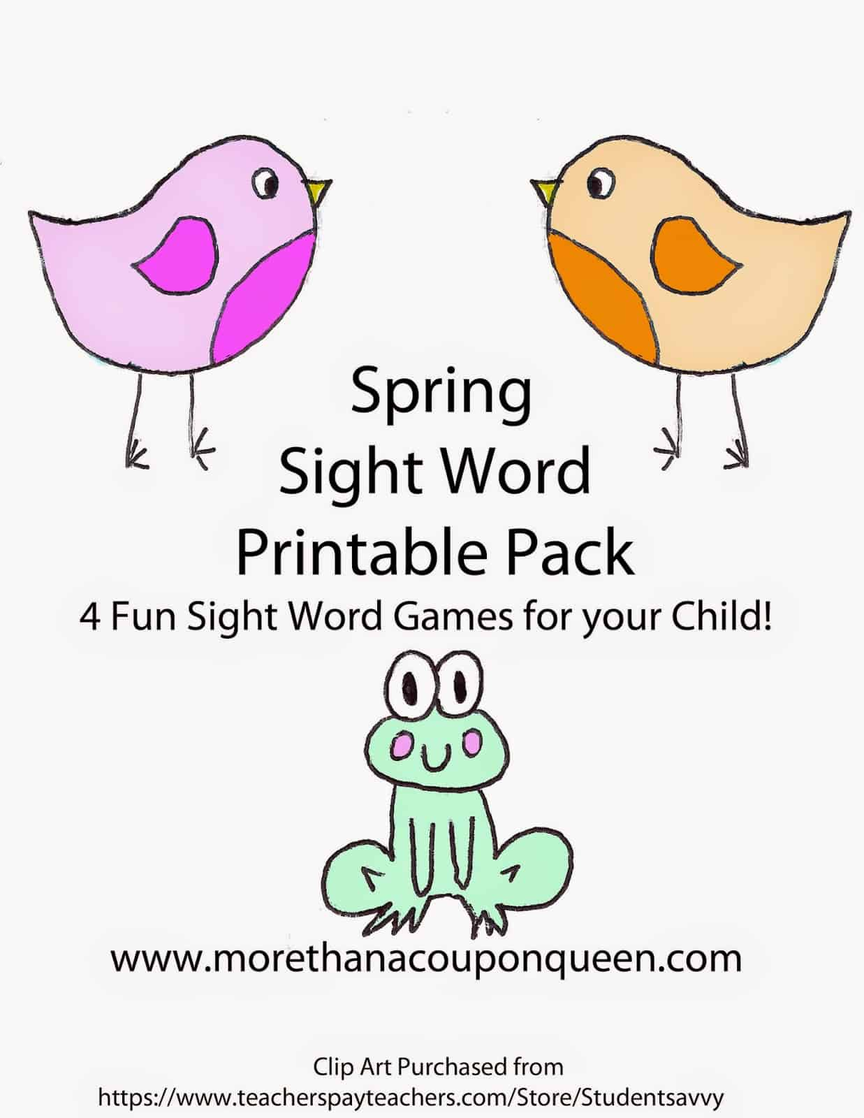 Spring Sight Word Printable Pack