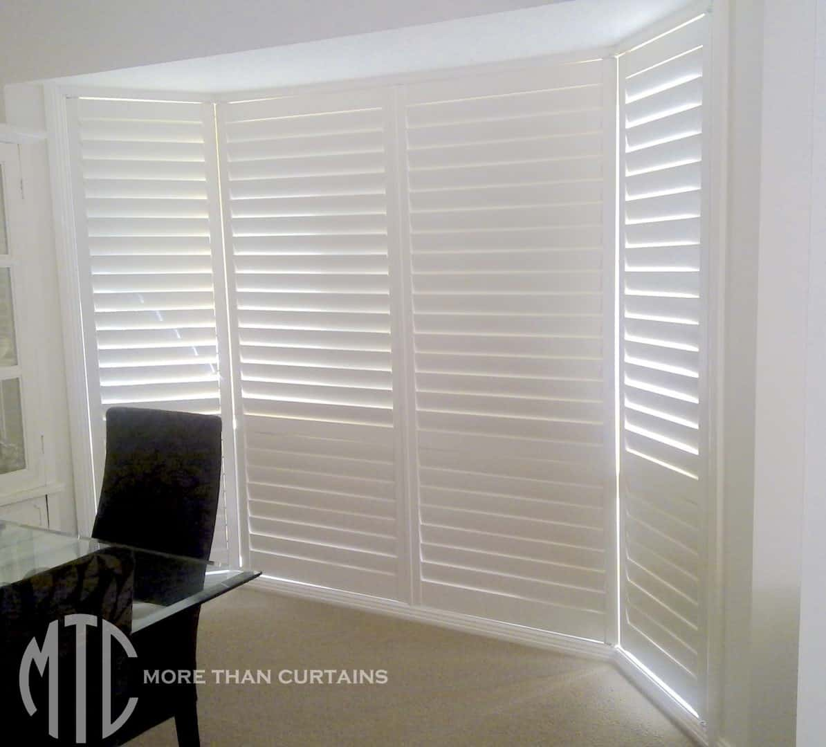 Plantation Shutters On A Floor To Ceiling Bay Window More