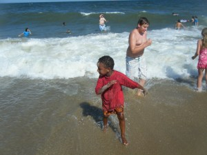 J, running from the waves