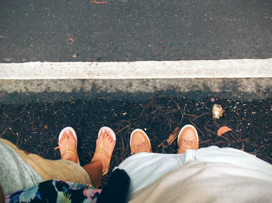 Standing at roadside.