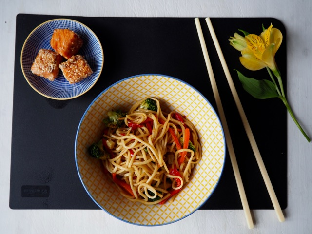 Marinated Salmon and fried noodles