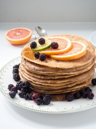 grapefruit and backberry pancakes