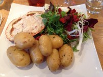 Dressed crab with new potatoes and salad - Driftwood Spars