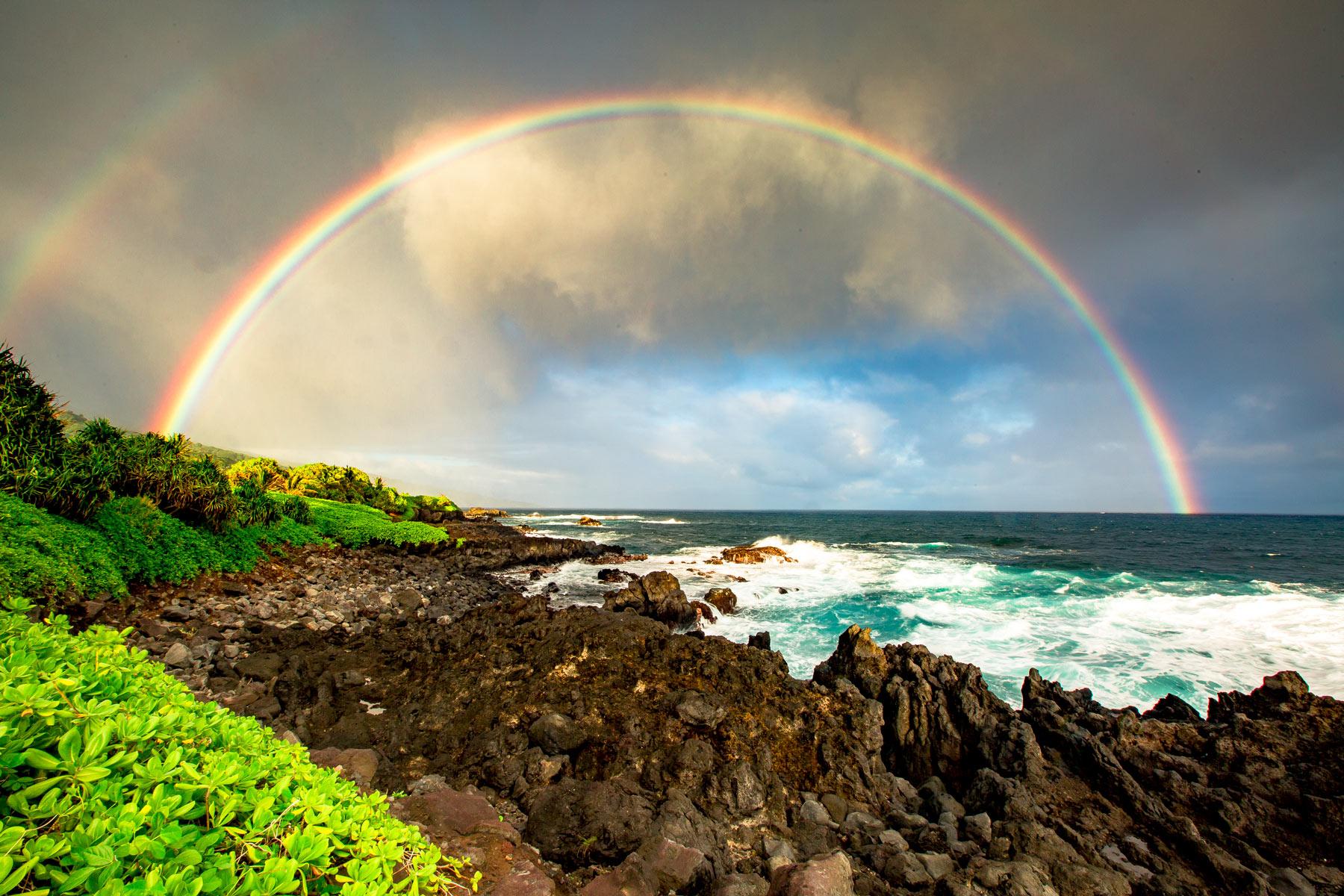 haleakala national park rainbow maui, hawaii