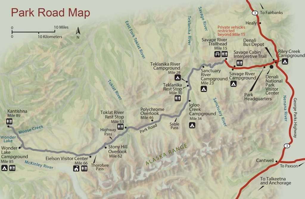 denali national park alaska road map