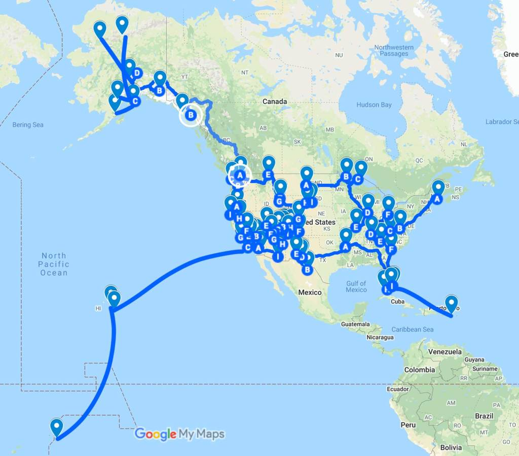 all 63 national parks road trip map