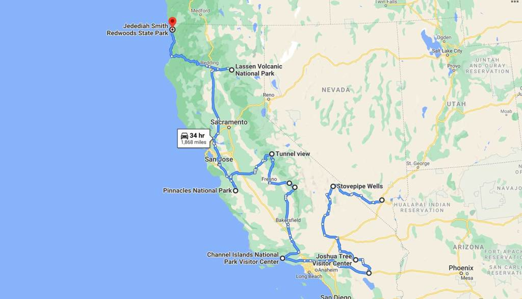 california road trip map national parks