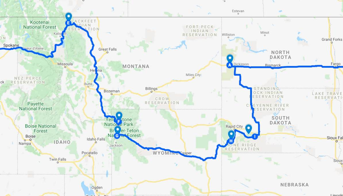yellowstone national park road trip map