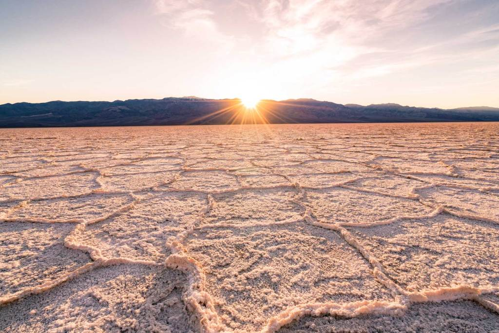 badwater basin sunset death valley national park california