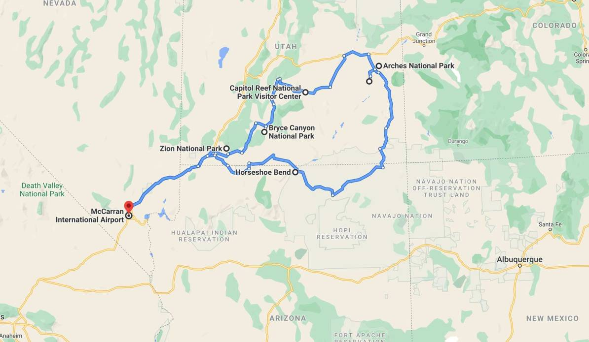 las vegas utah national parks road trip route map