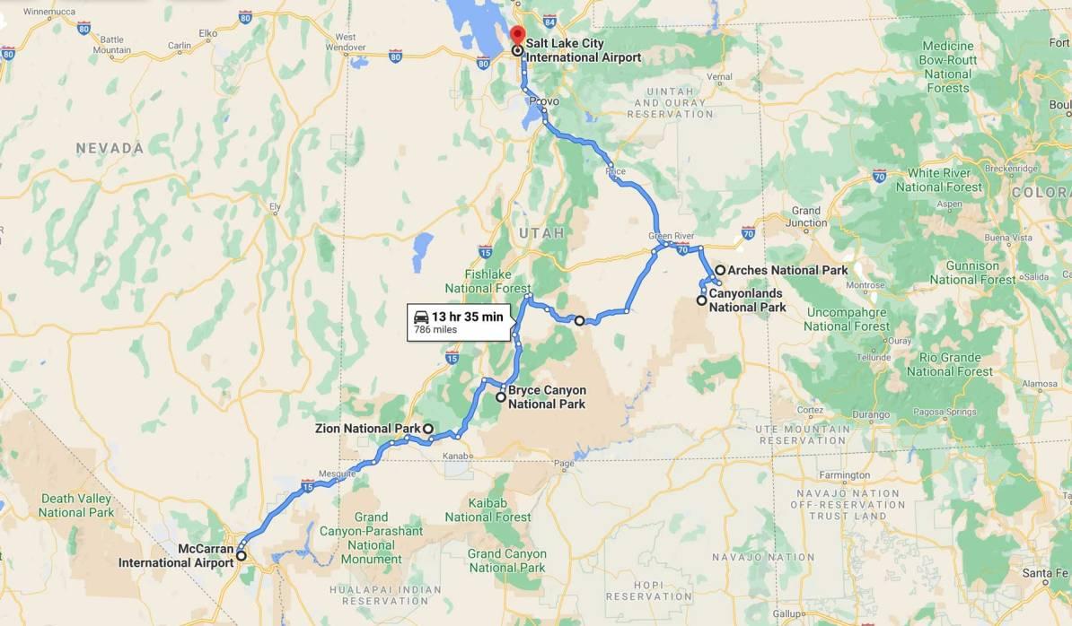 utah national park road trip one way route map