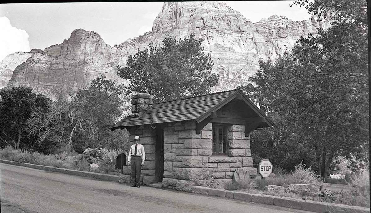 zion national park history - ranger at entrance station