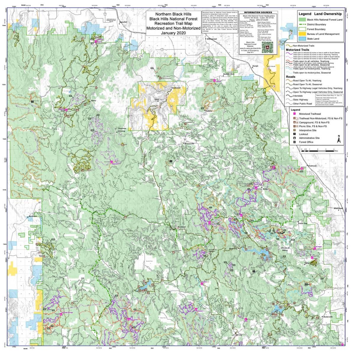 northern black hills ranger district map