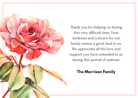 bereavement wording for thank