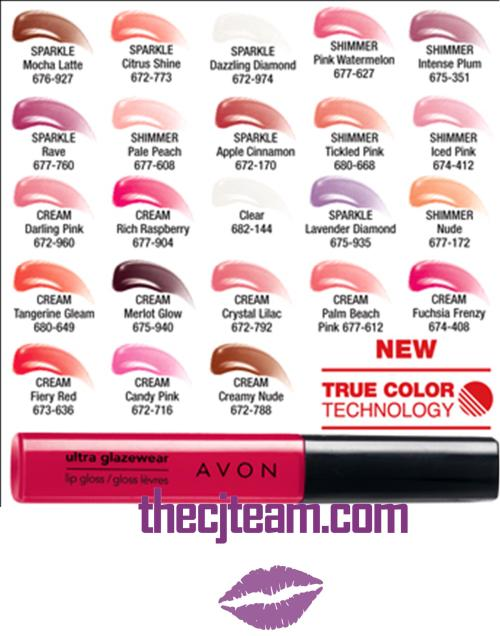 Ultra Glazewear Lip Gloss Chart x